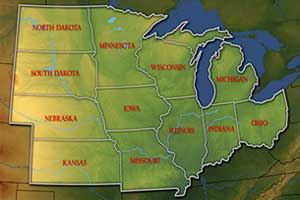 midwest territory service area map